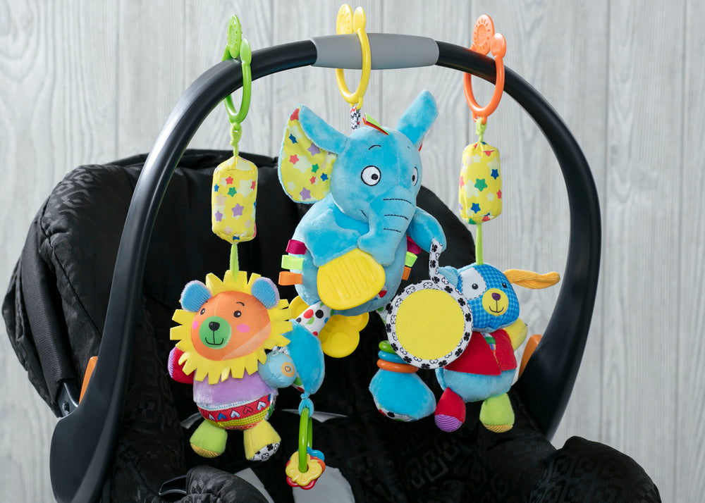 Delta Children Stroller/Car Seat Activity and Teething Toys for Babies, 3-Piece Set, Elephant & Friends (999), Lifestyle All View