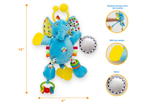 Delta Children Stroller/Car Seat Activity and Teething Toys for Babies, 3-Piece Set, Elephant & Friends (999), Measured Elephant View