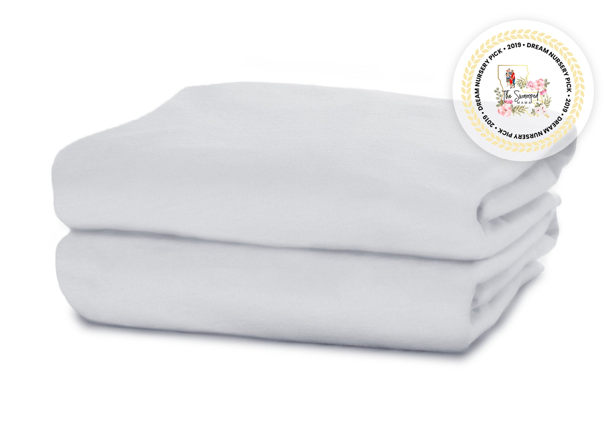 Delta Children White (100) Fitted Crib Sheet Set – 2 Pack Folded View