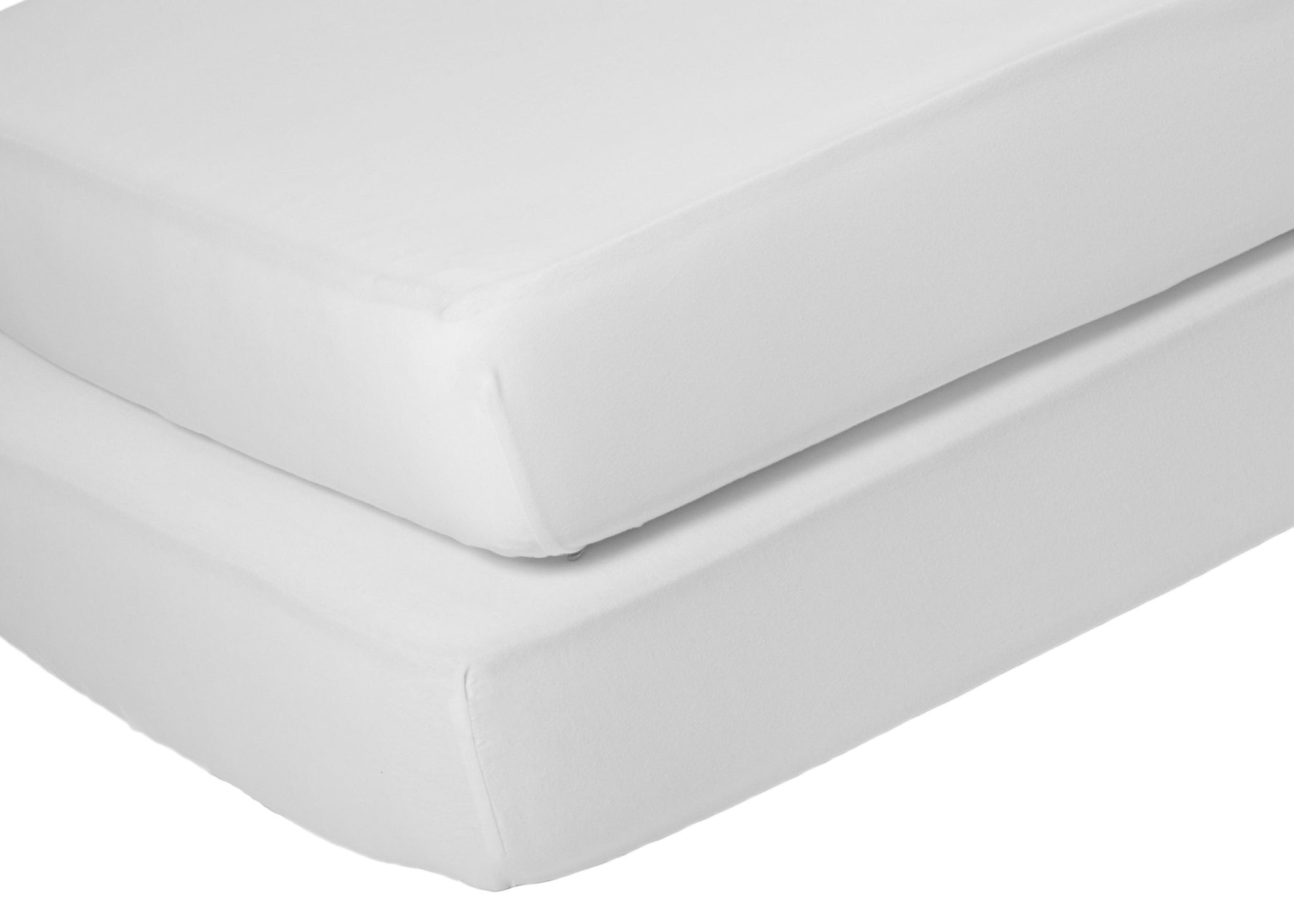 Delta Children White (100) Fitted Crib Sheet Set – 2 Pack Mattress Top Detail View