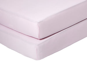 Delta Children Pink (654) Fitted Crib Sheet Set – 2 Pack Mattress Top Detail View