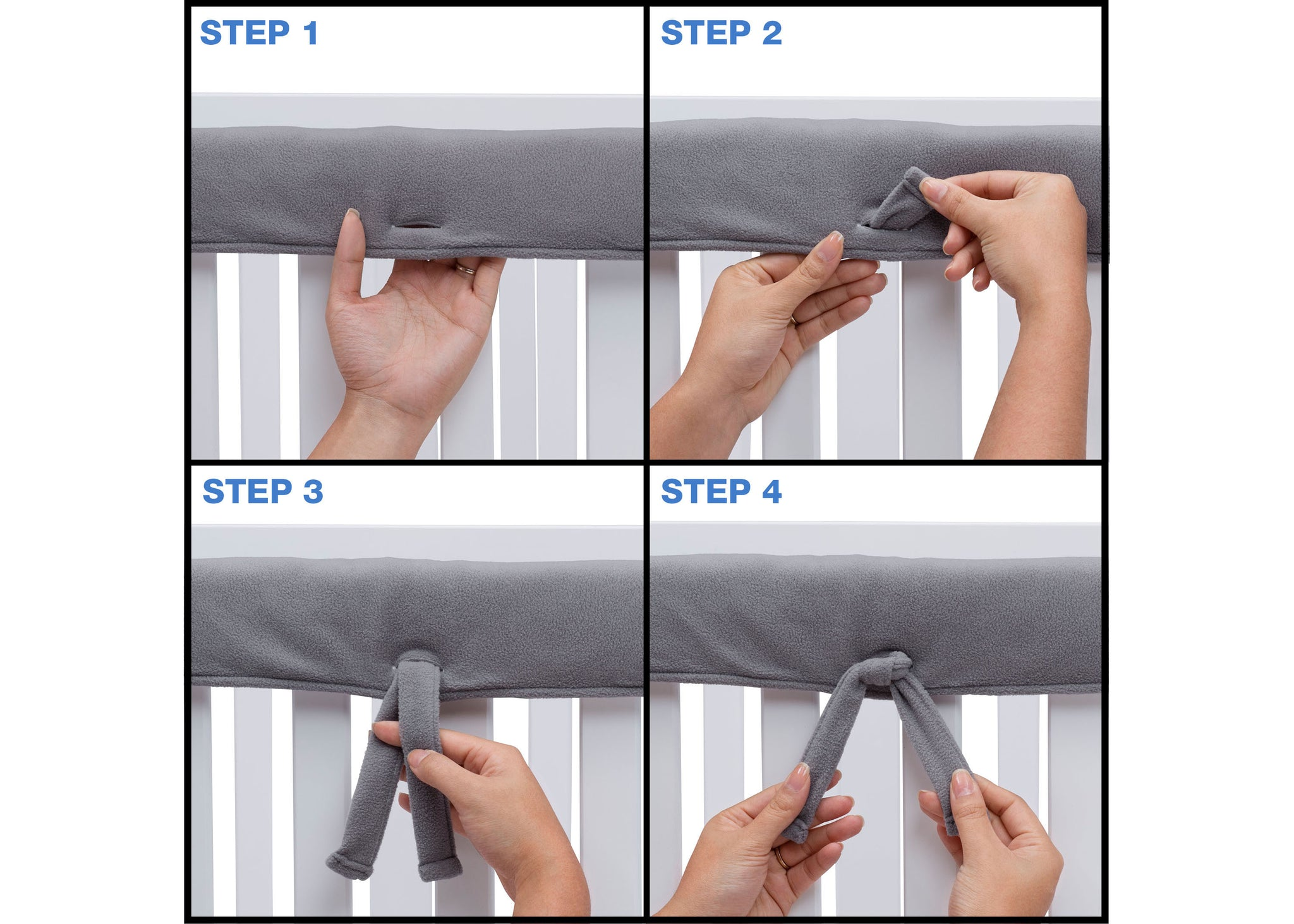 Delta Children Grey (026) Waterproof Fleece Crib Rail Covers/Protectors for Short Side Rails, 2 Pack, Tie Steps View