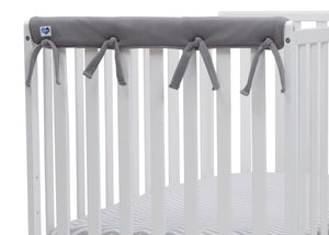 Delta Children Grey (026) Waterproof Fleece Crib Rail Covers/Protectors for Short Side Rails, 2 Pack, Close Rail View