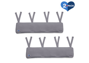 Delta Children Grey (026) Waterproof Fleece Crib Rail Covers/Protectors for Short Side Rails, 2 Pack, Main View