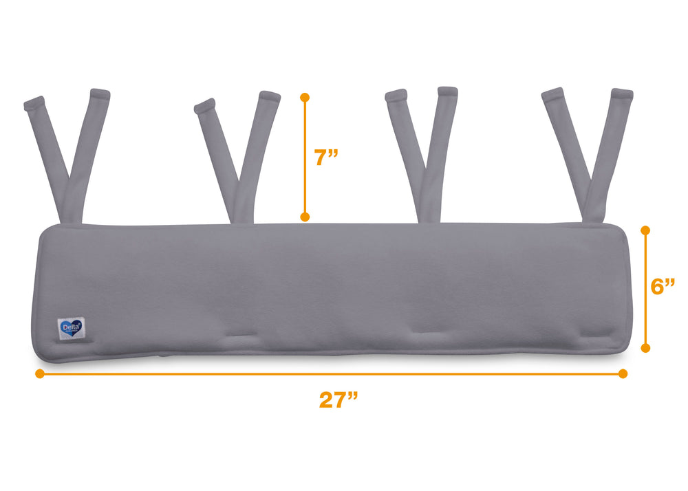 Delta Children Grey (026) Waterproof Fleece Crib Rail Covers/Protectors for Short Side Rails, 2 Pack, Measured View