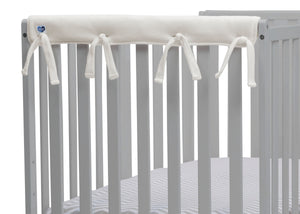 Delta Children Ivory (124) Waterproof Fleece Crib Rail Covers/Protectors for Short Side Rails, 2 Pack, Rail Close Up View