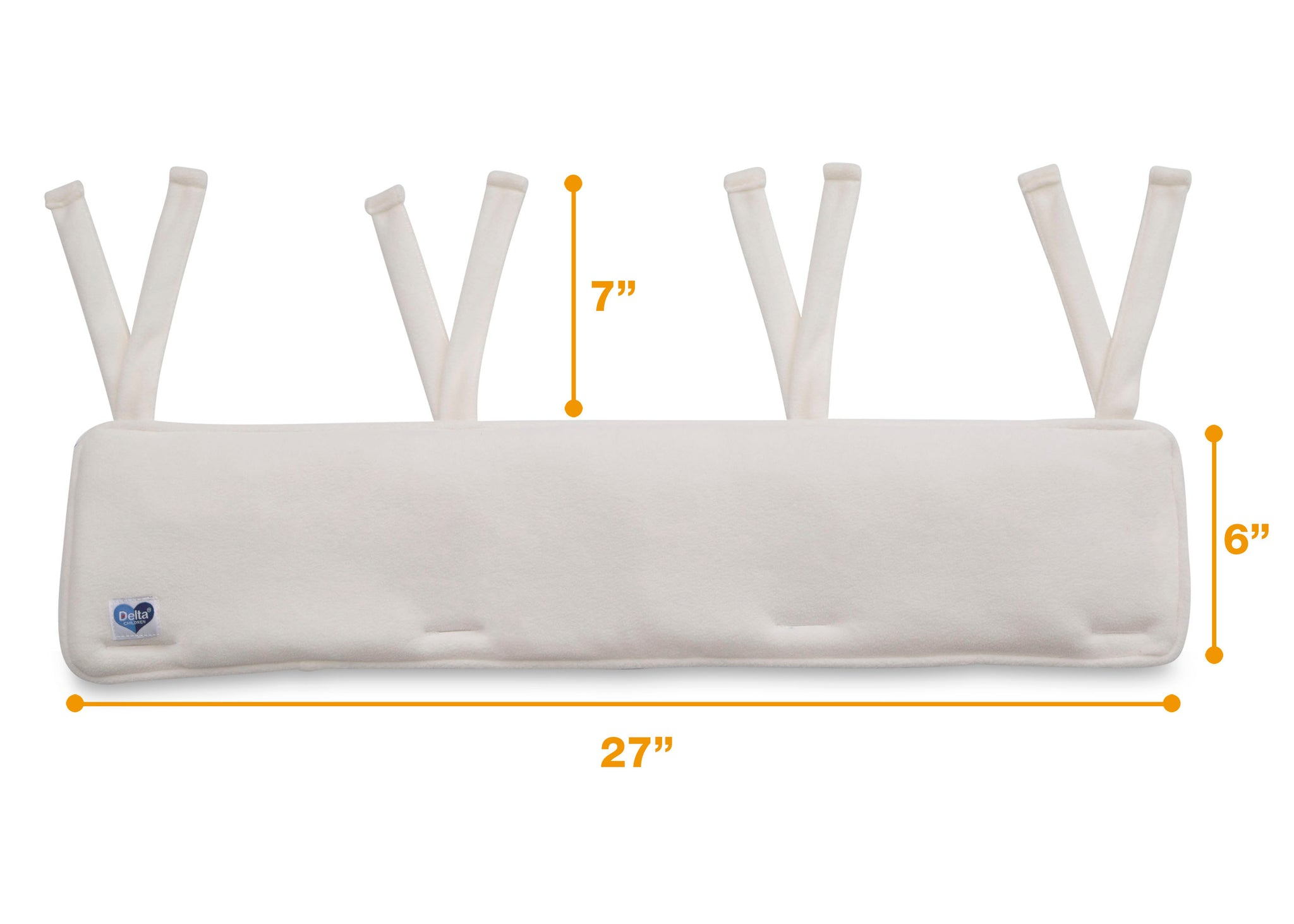 Delta Children Ivory (124) Waterproof Fleece Crib Rail Covers/Protectors for Short Side Rails, 2 Pack, Measured View