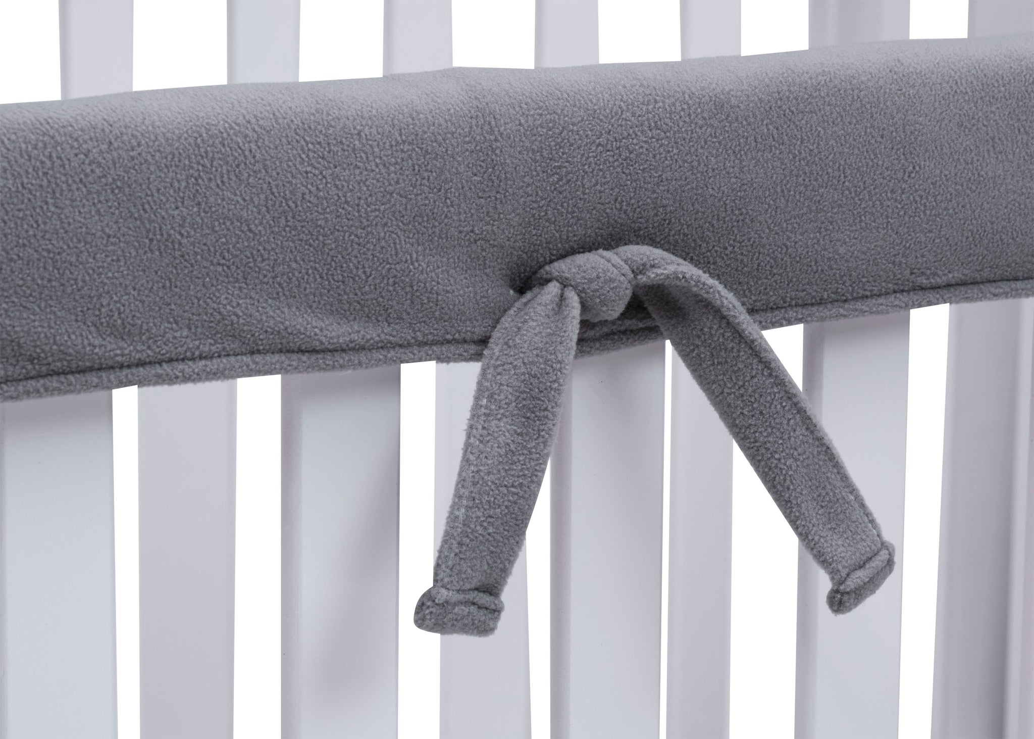 Delta Children Grey (026) Waterproof Fleece Crib Rail Covers/Protectors for Short Side Rails, 2 Pack, Tie Detail View