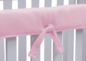 Delta Children Pink (654) Waterproof Fleece Crib Rail Covers/Protectors for Short Side Rails, 2 Pack, Tie Detail View
