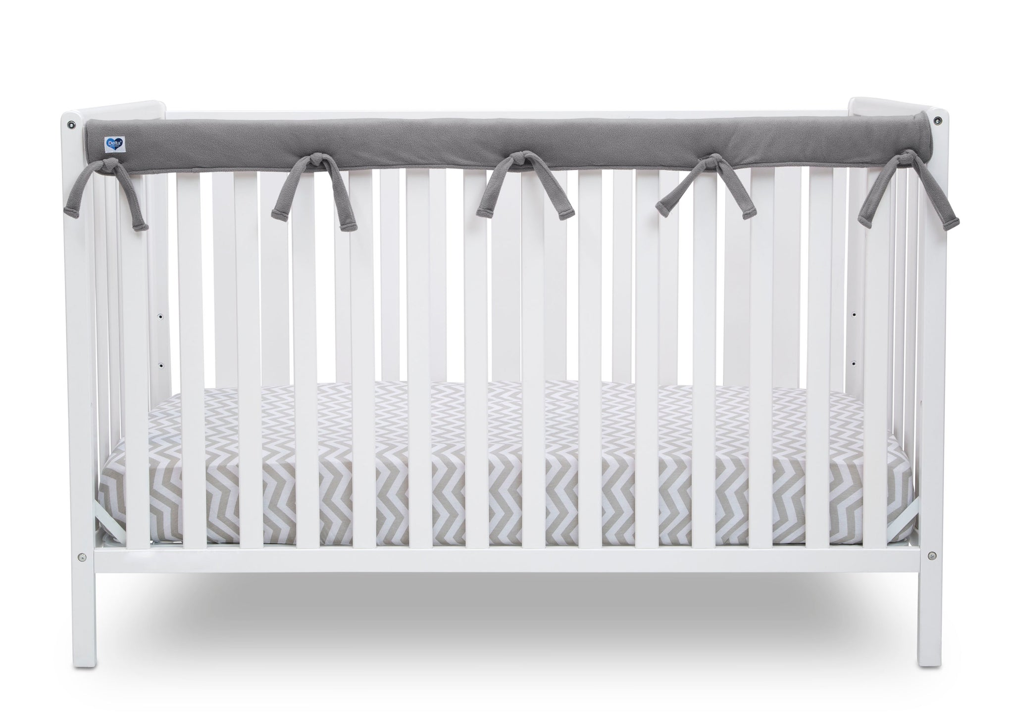 Delta Children Grey (026) Waterproof Fleece Crib Rail Cover/Protector for Long Front or Back Rail, 1 Pack, Rail View