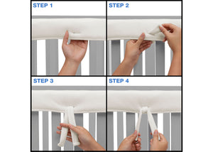 Delta Children Ivory (124) Waterproof Fleece Crib Rail Cover/Protector for Long Front or Back Rail, 1 Pack, Tie Steps View