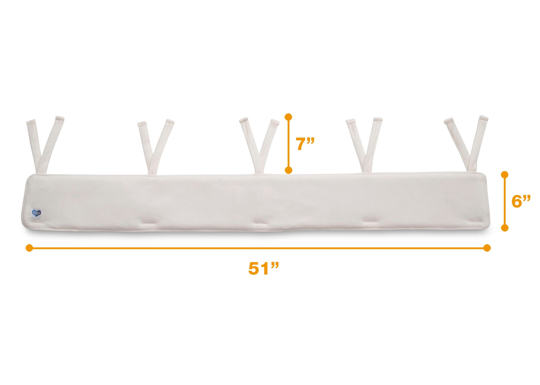 Delta Children Ivory (124) Waterproof Fleece Crib Rail Cover/Protector for Long Front or Back Rail, 1 Pack, Measured View