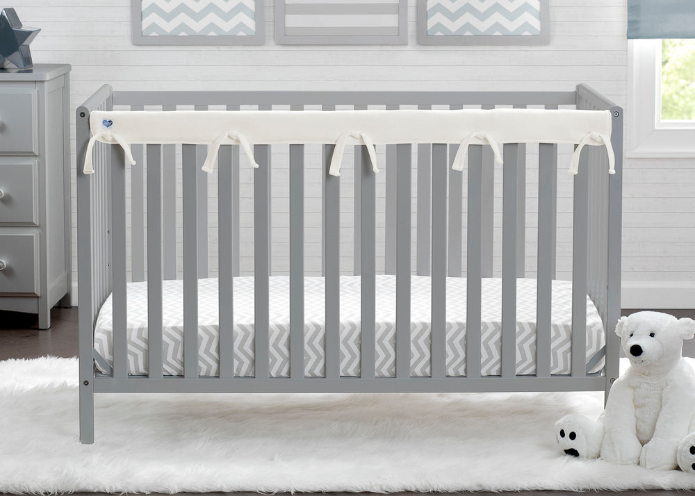 Delta Children Ivory (124) Waterproof Fleece Crib Rail Cover/Protector for Long Front or Back Rail, 1 Pack, Lifestyle View
