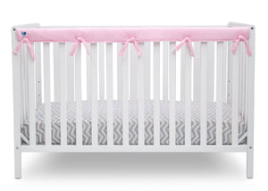 Delta Children Pink (654) Waterproof Fleece Crib Rail Cover/Protector for Long Front or Back Rail, 1 Pack, Rail View
