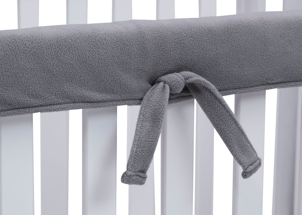 Delta Children Grey (026) Waterproof Fleece Crib Rail Cover/Protector for Long Front or Back Rail, 1 Pack, Tie Detail View