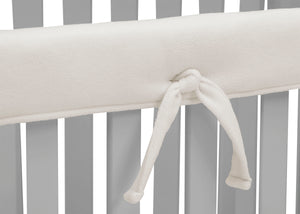 Delta Children Ivory (124) Waterproof Fleece Crib Rail Cover/Protector for Long Front or Back Rail, 1 Pack, Tie Detail View