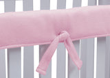 Delta Children Pink (654) Waterproof Fleece Crib Rail Cover/Protector for Long Front or Back Rail, 1 Pack, Tie Detail View