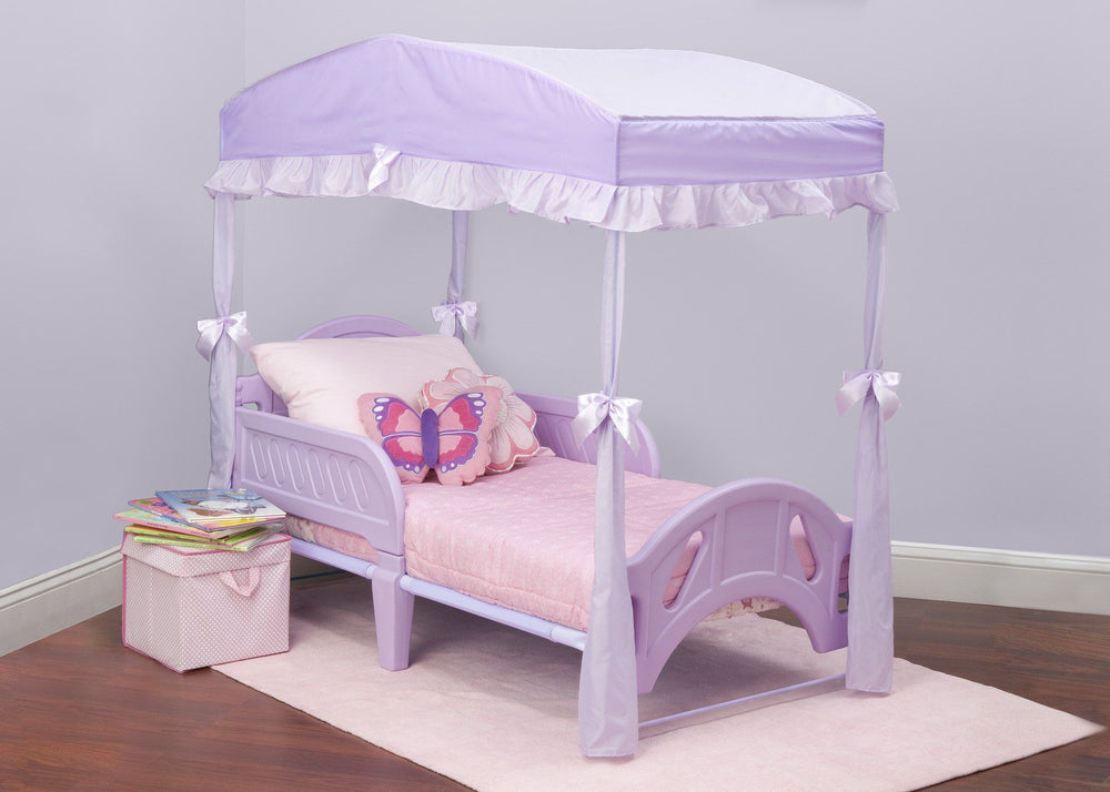 Delta Children Toddler Bed Canopy Style 1 Purple (500) Right Side View with Props a1a