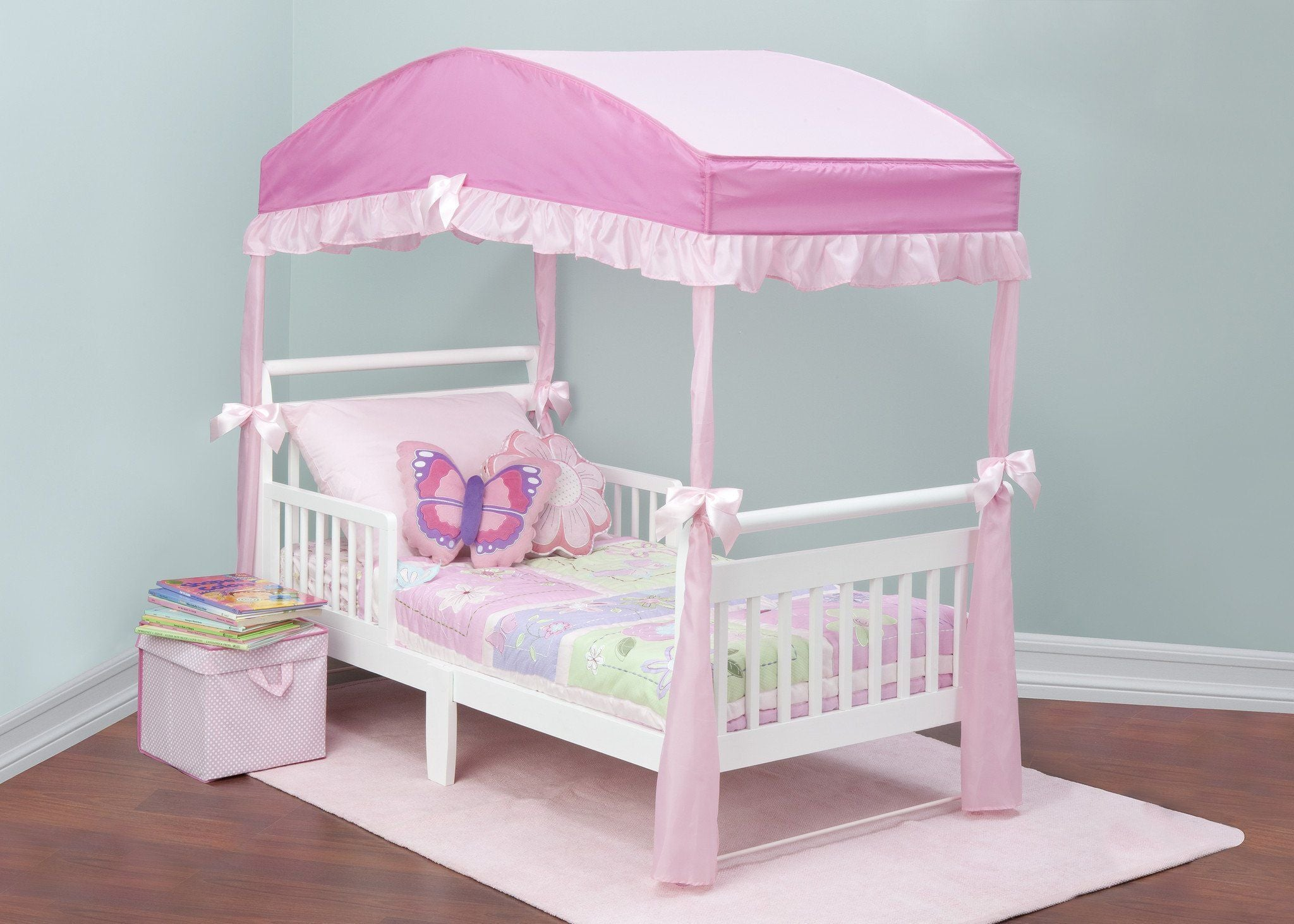 Delta Children Toddler Bed Canopy Pink (660) Style 2 Right Side View with Props b1b