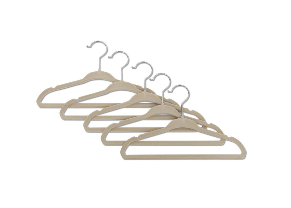 Delta Children Beige (250) 5 Pack Velvet Hangers, Multiple View b2b