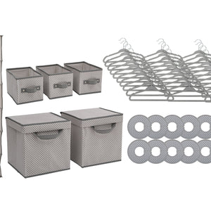 Delta Children Cool Grey (063) 48 Piece Nursery Storage Set, Silo b2b