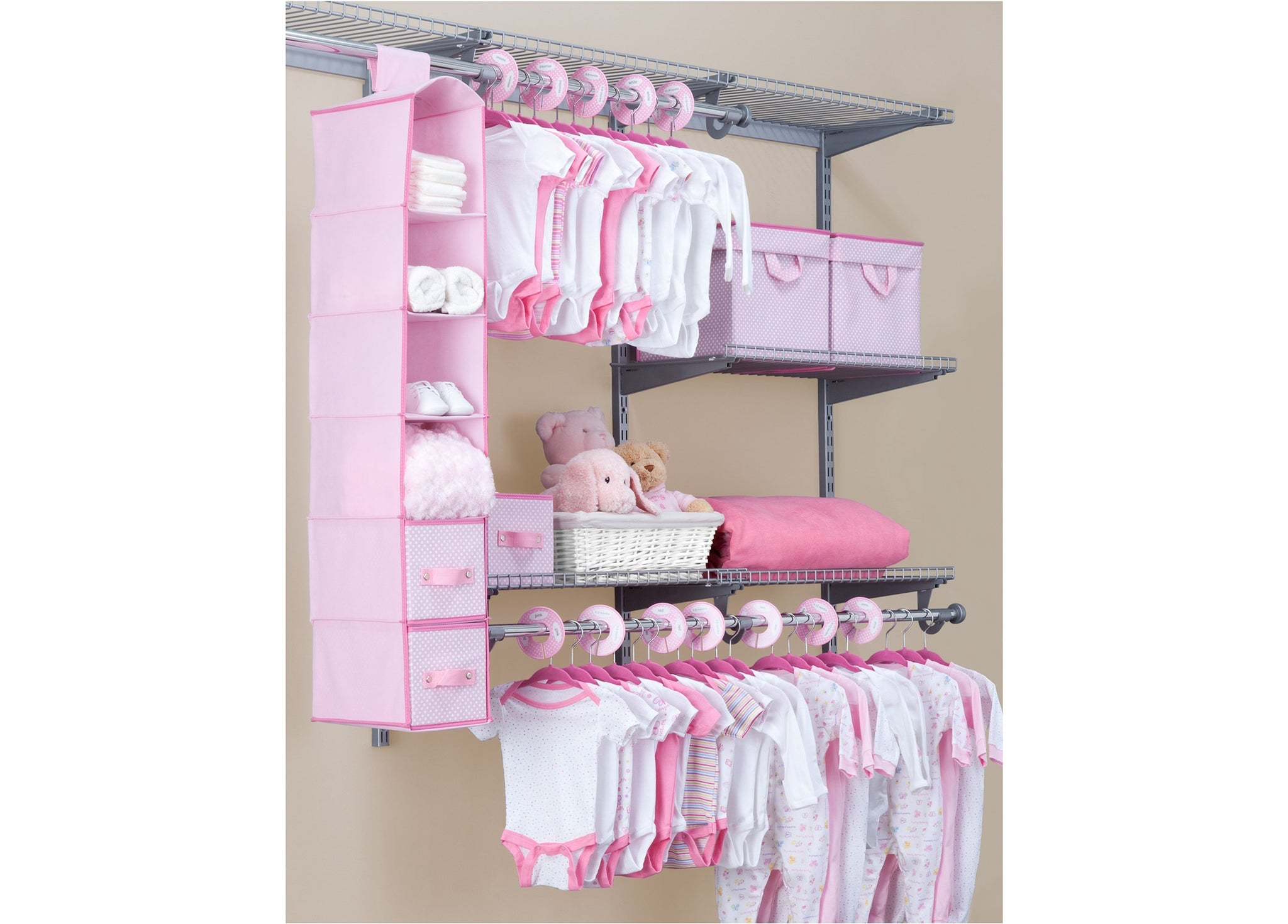 Delta Children Barely Pink (689) 48 Piece Nursery Storage Set, Side View f1f