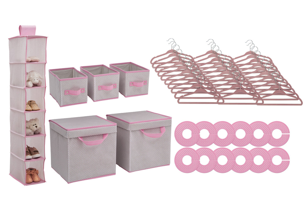 Delta Children Infinity Pink (693) 48 Piece Nursery Storage Set, Silo e2e