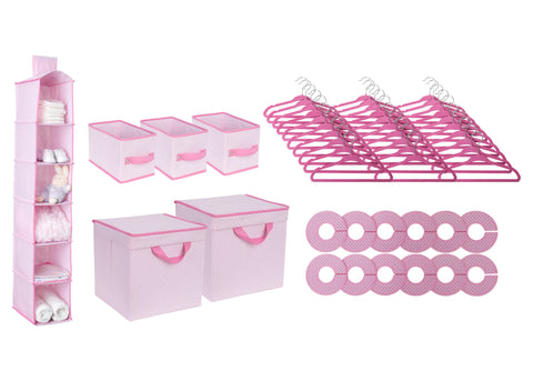 48 Piece Nursery Storage Set (Barely Pink) - bundle