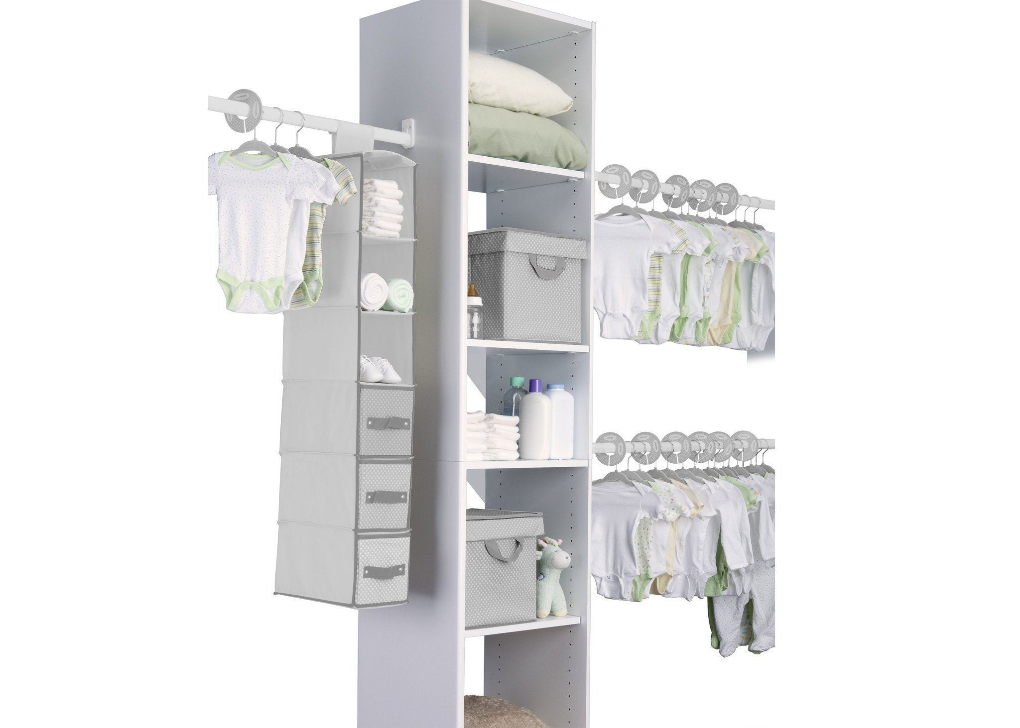 Delta Children Dove Grey (058) 48 Piece Nursery Storage Set, Side View a1a