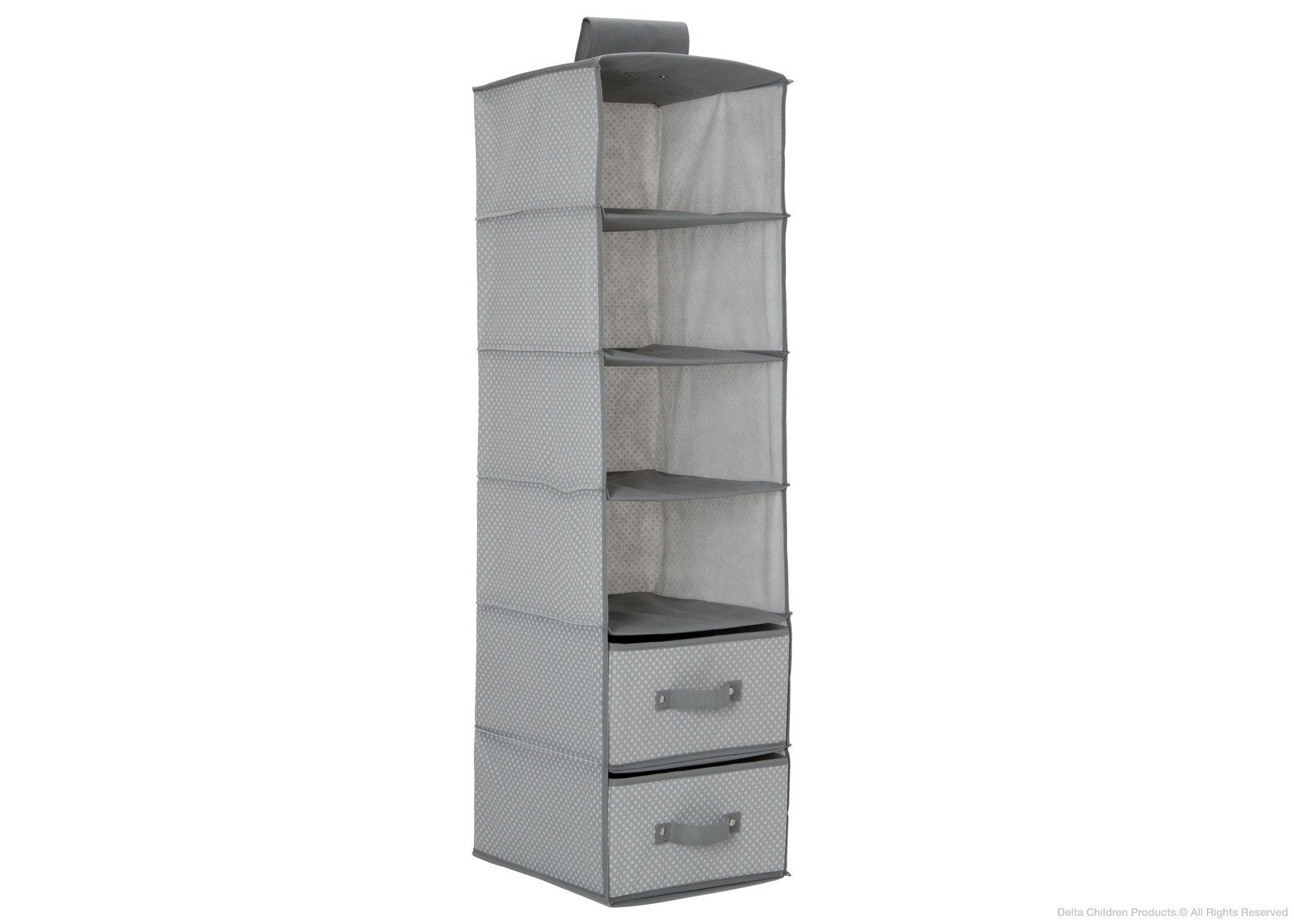 Delta Children Dove Grey (058) 6 Shelf Storage with 2 Drawers, Drawer Option a1a