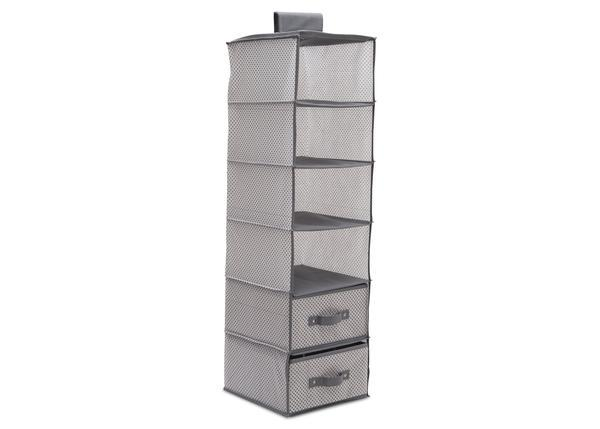 Delta Children Dove Grey (063) 6 Shelf Storage With 2 Drawers, Drawer Option