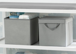 Delta Children Dove Grey (058) 2-Pack Lidded Storage Bins (SS2165), Details, a1a