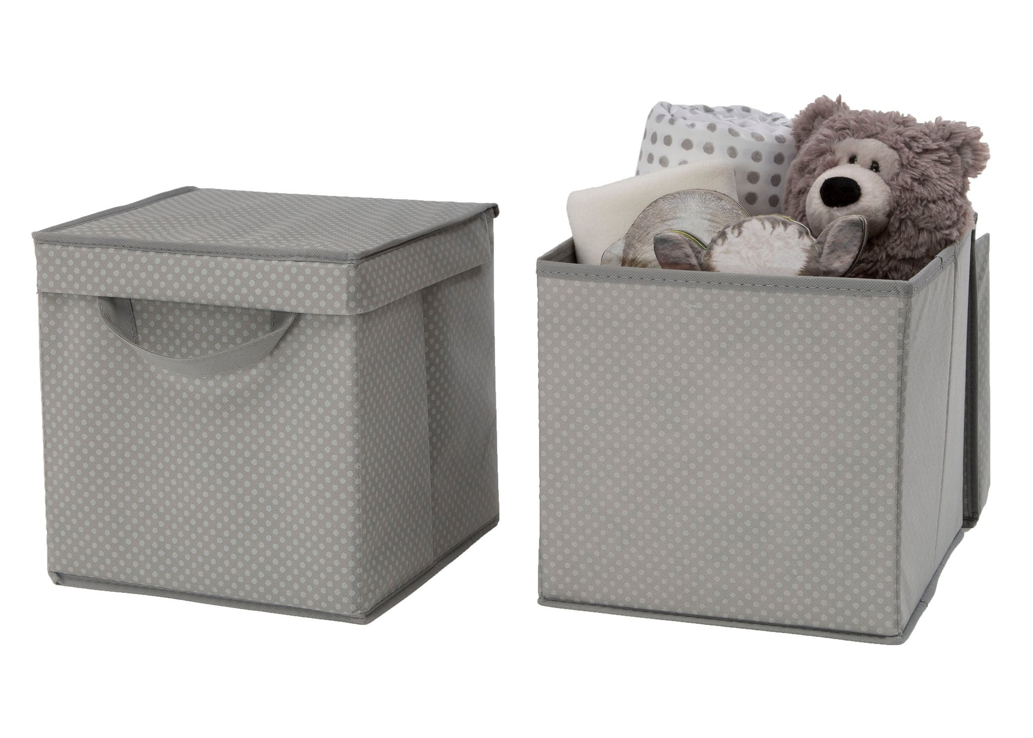 Delta Children Dove Grey (058) 2-Pack Lidded Storage Bins (SS2165), Silo with Props, a3a