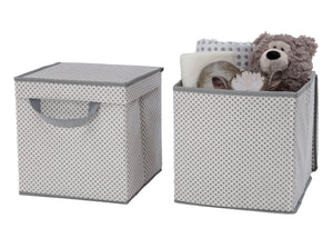 Delta Children Cool Grey (063) 2-Pack Lidded Storage Bins (SS2165), Details, b3b