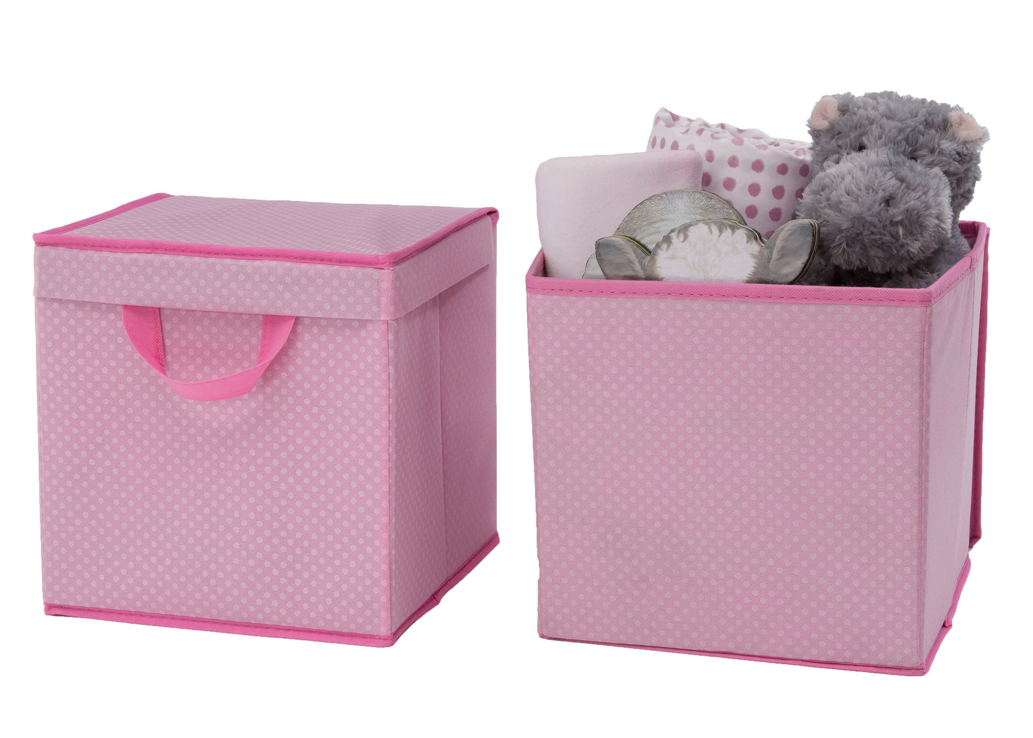 Delta Children Barely Pink (689) 2-Pack Lidded Storage Bins (SS2165), Silo with Props, d3d