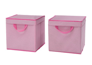Delta Children Barely Pink (689) 2-Pack Lidded Storage Bins (SS2165), Hangtag, d2d