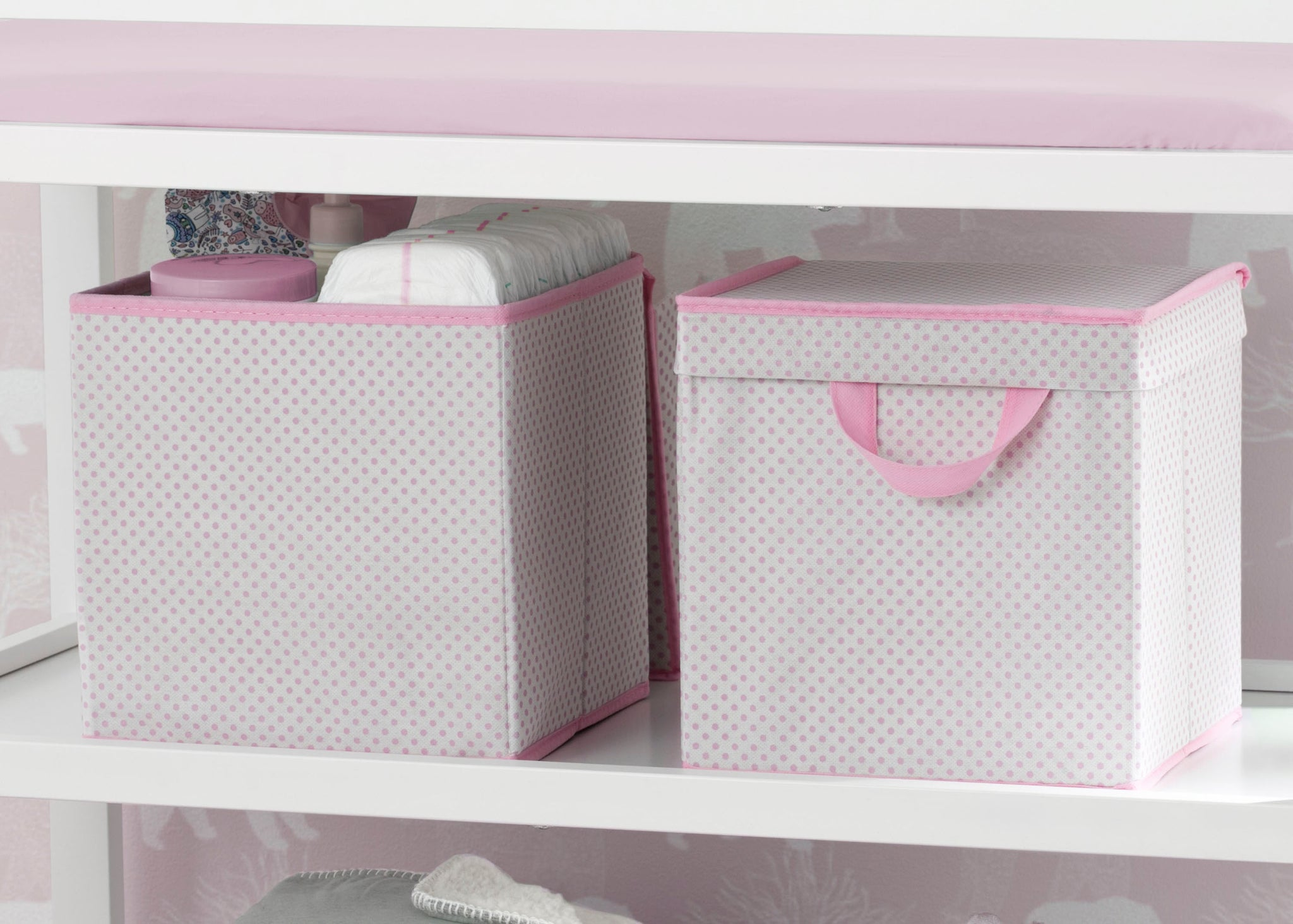 Delta Children Pink Polka Dots (693) 2-Pack Lidded Storage Bins (SS2165), Details, f1f