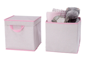 Delta Children Pink Polka Dots (693) 2-Pack Lidded Storage Bins (SS2165), Silo with Props, f3f