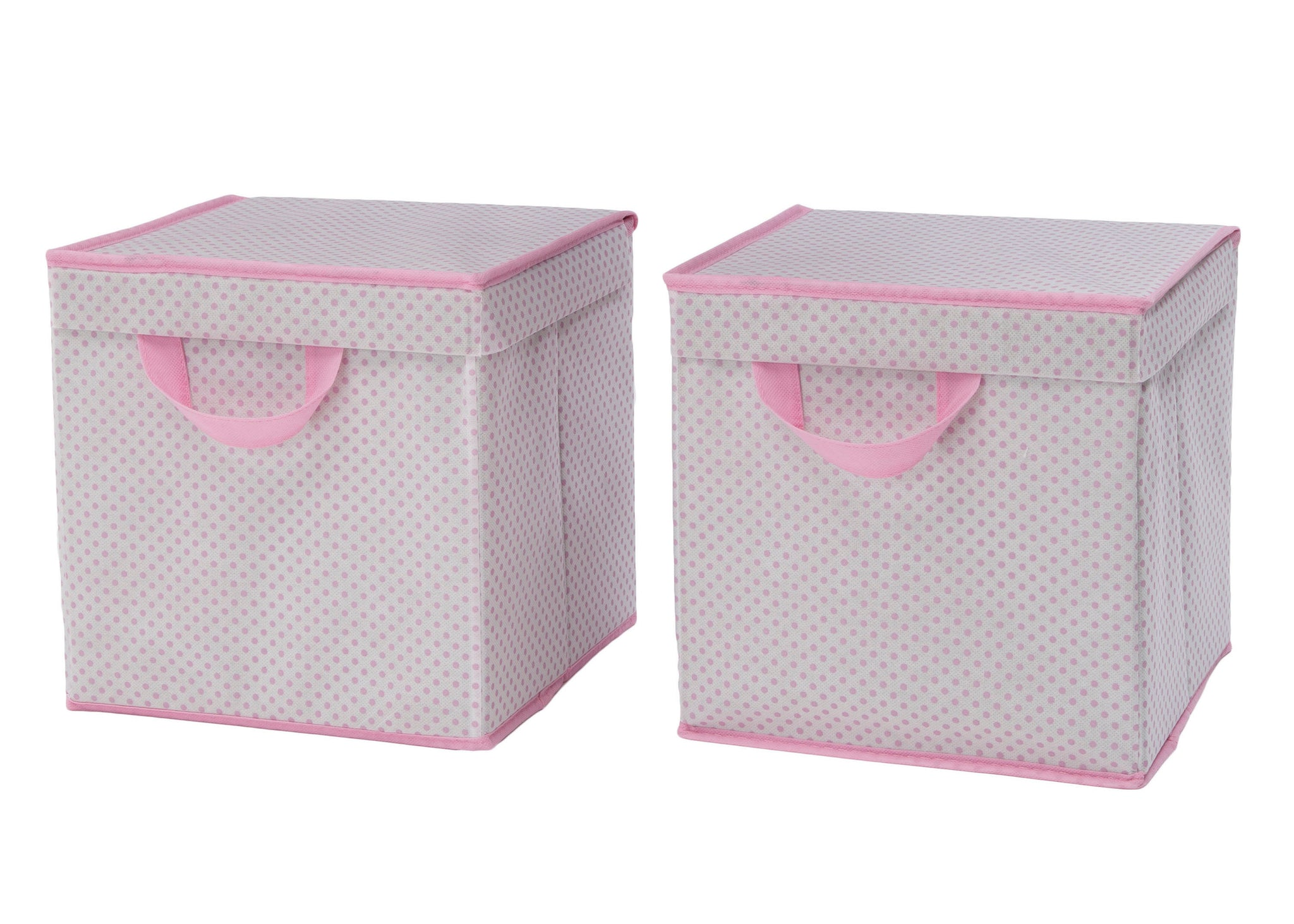 Delta Children Pink Polka Dots (693) 2-Pack Lidded Storage Bins (SS2165), Hangtag, f2f