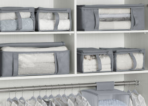 Delta Children Grey (026) 6-Piece Hide-A-Way/Underbed Storage Bag Set, Closet View