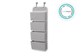 Delta Children Gingham Grey (058) Deluxe Water-Resistant 4 Pocket Hanging Wall Organizer a2a