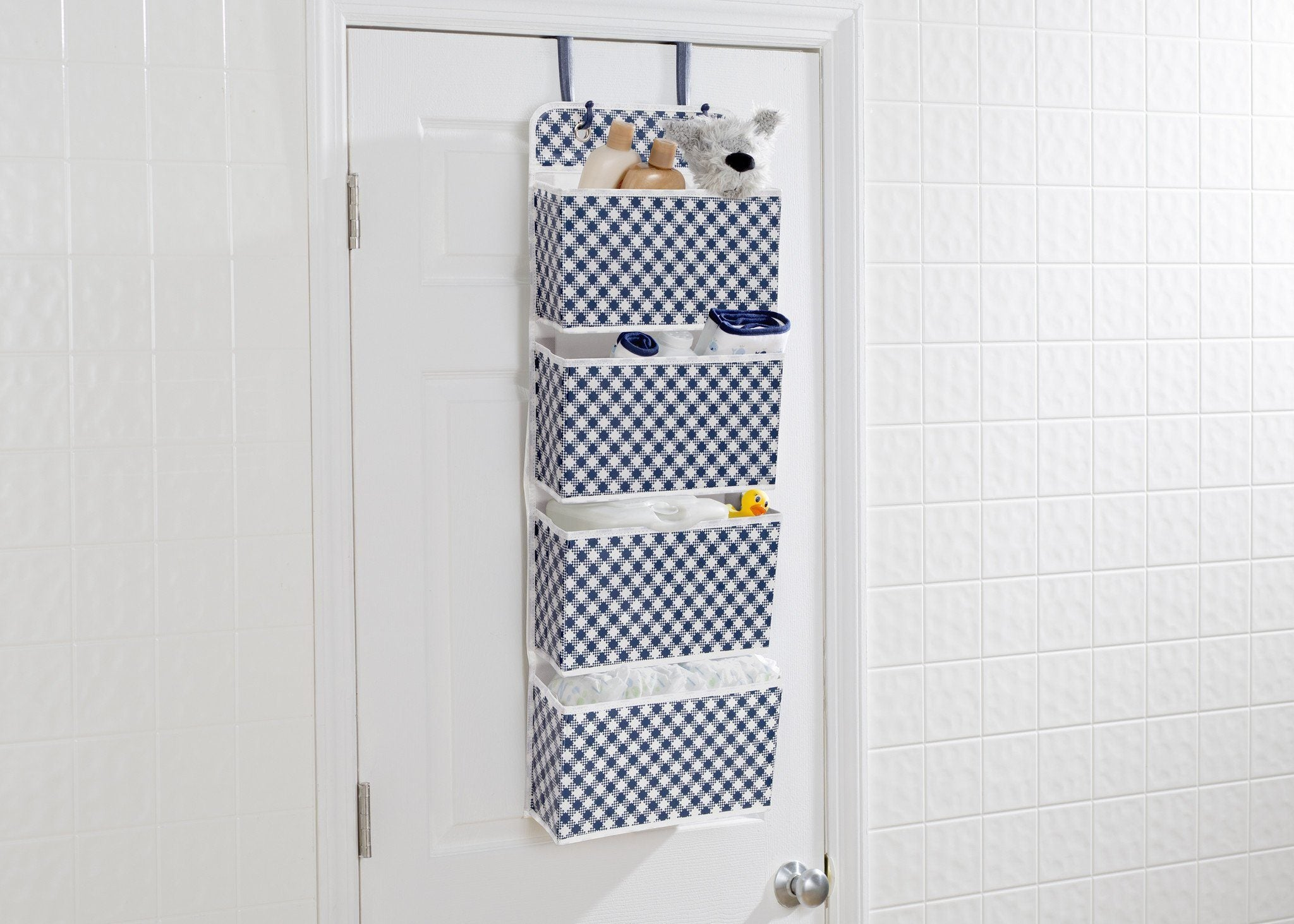 Delta Children Gingham Navy (404) Deluxe Water-Resistant 4 Pocket Hanging Wall Organizer c1c