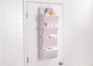 Delta Children Gingham Pink (689) Deluxe Water-Resistant 4 Pocket Hanging Wall Organizer e1e