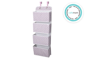 Delta Children Gingham Pink (689) Deluxe Water-Resistant 4 Pocket Hanging Wall Organizer e2e