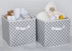 Delta Children Gingham Grey (058) 2 Deluxe Water-Resistant Storage Cubes a1a
