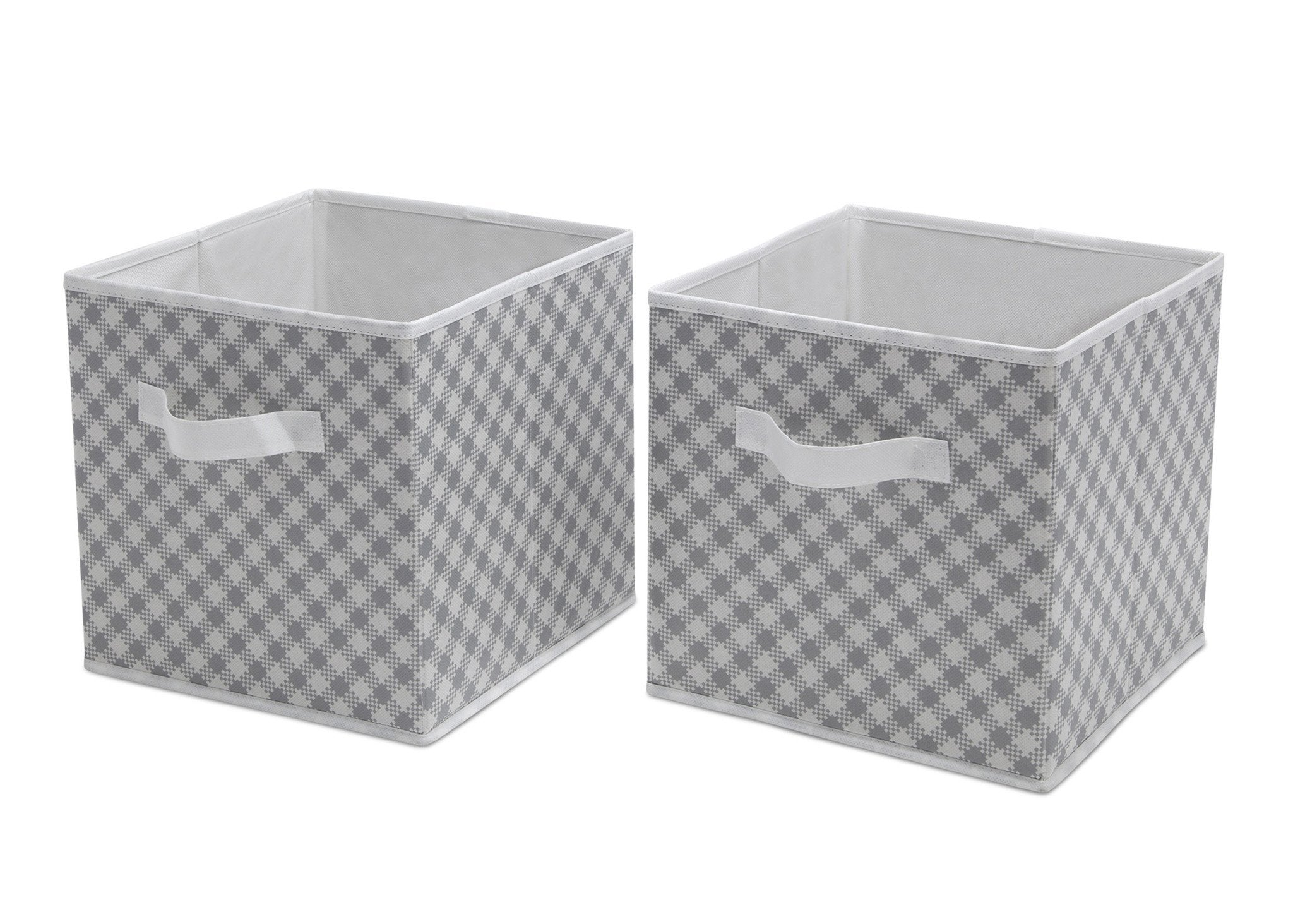 Delta Children Gingham Grey (058) 2 Deluxe Water-Resistant Storage Cubes a2a