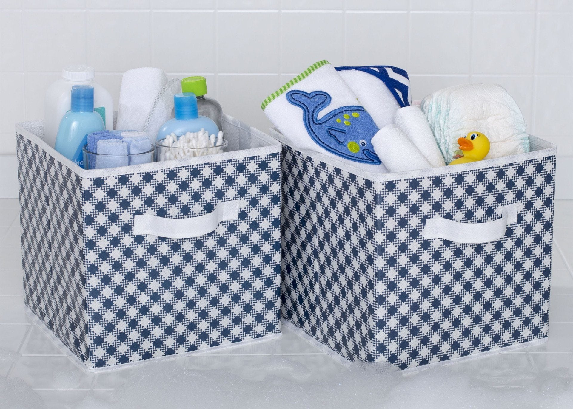 Delta Children Gingham Navy (404) 2 Deluxe Water-Resistant Storage Cubes b1b
