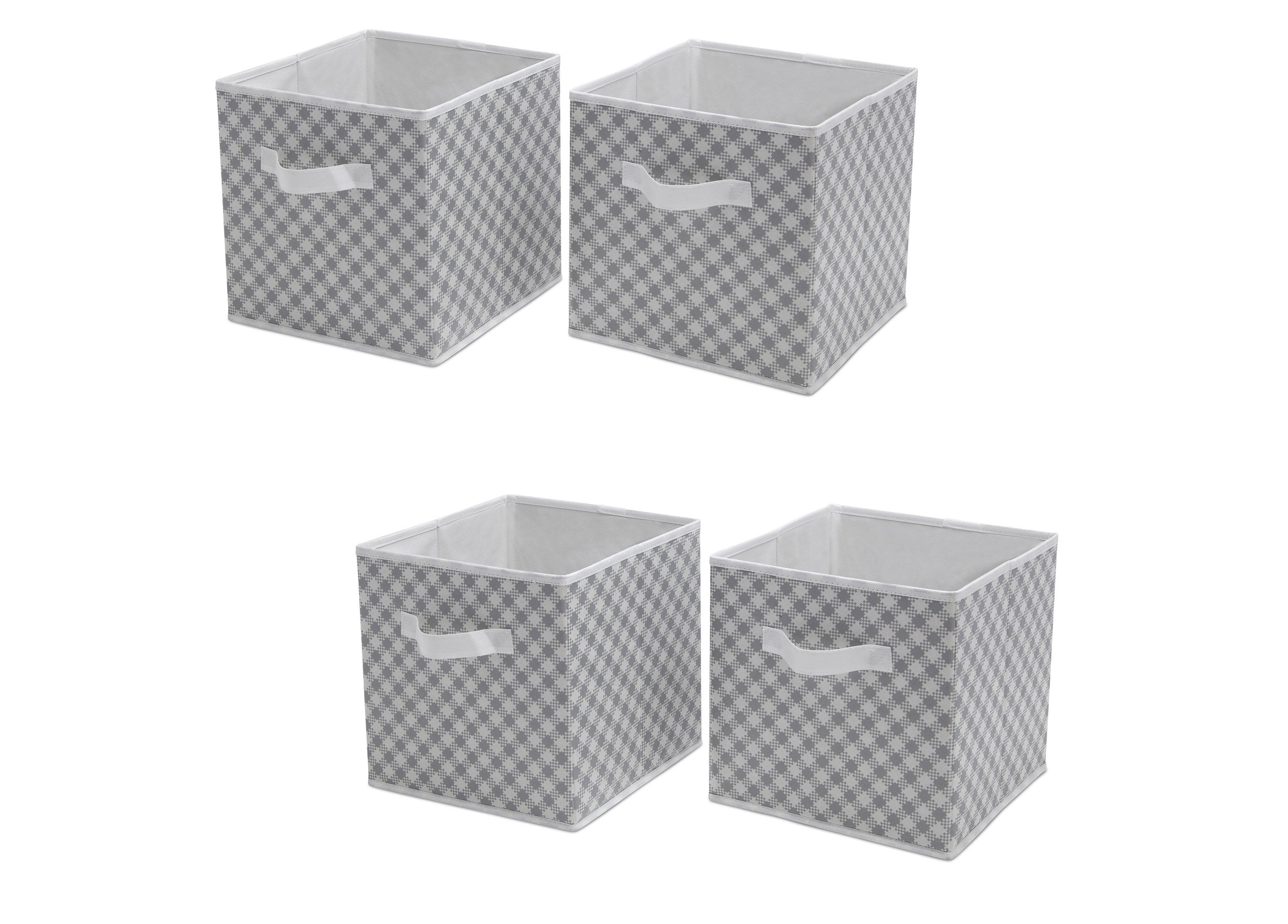 Delta Children Gingham/Grey (058) 4 Pack Deluxe Water Resistant Storage ...