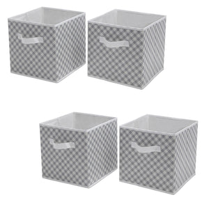 Delta Children Gingham/Grey (058) 4-Pack Deluxe Water-Resistant Storage Cubes (SS2558), Silo, a1a