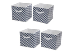 Delta Children Gingham/Navy (404) 4-Pack Deluxe Water-Resistant Storage Cubes (SS2558), Silo, c1c
